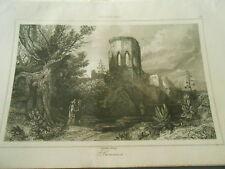 Gravure 1841 - Palestine Tour octogone du style ogival près Samarie