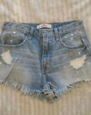 WOMENS HOLLISTER STRETCH hi waisted JEAN SHORTS light washed distressed SIZE 1