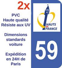 Autocollant plaque immatriculation Adhésif Dépt 59 région Nord Hauts de France