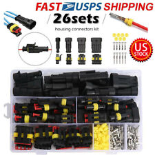 US 26Sets 1-4 Pin Electrical Wire Connector Plug Waterproof Automotive Plug Kits