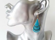 Beautiful 5cm long gold tone & Turquoise sparkly glitter teardrop shape earrings
