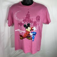 Disney Parks Authentic Unisex Medium Pink T Shirt Wizard Mickey Mouse 2017