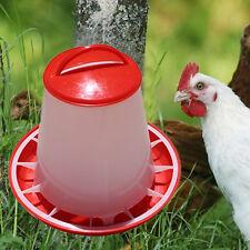 1.5kg Red Plastic Feeder Baby Chicken Chicks Hen Poultry Feeder Lid & Handle MW