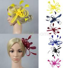 Chic Feather Fascinator Cocktail Wedding Party Bridal Headpiece Hair Clip Brooch