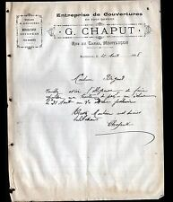 """MONTLUCON (03) Ets COUVERTURE / TUILES & ARDOISES  """"G. CHAPUT Couvreur"""" en 1908"""