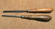 """Set of 2 Vintage finishing chisels woodworking carving tools 1/4"""", 1/8"""" Usa made"""