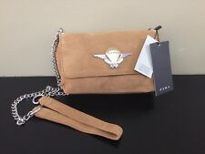 a1a1bbb12b Zara Suede Purse Tan Leather Shoulder Bag With Metal Chain NWT