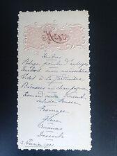 Ancien menu 1901 au decor gaufré