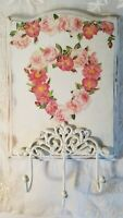 Vintage wall plaque altered rose heart wreath shabby cottage romantic hooks