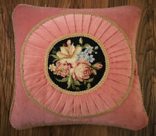 "16"" English Romantic Pink Velvet Gold Lace Handmade Needlepoint Pillow Cushion"