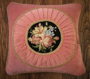 "16"" English Romantic Pink Velvet Gold Lace Handmade Needlepoint Pillow Cushion"