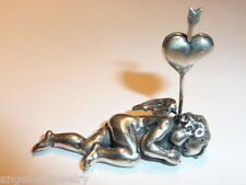 Tisch-/Namenskartenhalter, Engel seitlich liegend, 800 Silber, #1042f