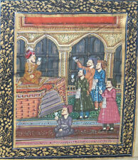 Mughal India Court Scene Hand Painting on Silk