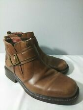 Clarks Ankle Boots Buckle Strap Zip Mens Brown Leather Size 9M