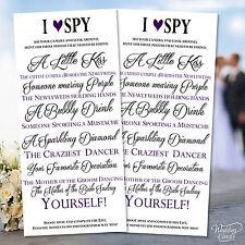 2 x Matrimonio MI Spionaggio Telecamera kidstable attività favore carte personalizzato