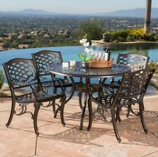 Metal Patio Set Cast Aluminum Bronze Dining Backyard Deck 5 Piece Table 4 Chairs