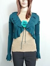 BUGO Italy Ladies Green Cashmere Blend Ruffle Bell Sleeve Crop Bolero sz S AO52