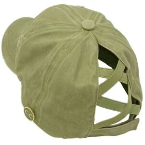 C.C Ponytail Criss Cross Messy Buns Ponycaps Baseball Cap Hat Button Hook Olive