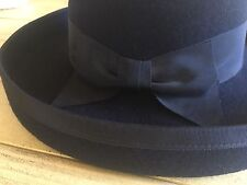 LAURA ASHLEY VINTAGE NAVY WOOL FELT CLOCHE STYLE HAT, ONE SIZE