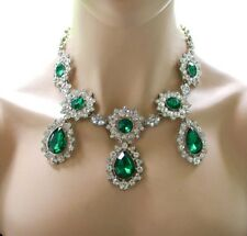 Emerald Green Rhinestones Victorian Statement Necklace,Pageant,Drag Queen