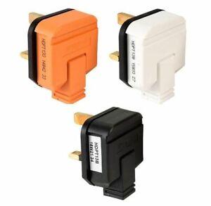 Heavy Duty Rubber Permaplug 13A Plug Top Fused 3 Pin Plugs - Black White Orange