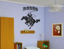 Wall Vinyl Sticker Decals Art Decor Cowboy Riding Rodeo Horse Lasso #180