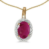 """10k Yellow Gold Oval Ruby And Diamond Pendant with 16"""" Chain"""