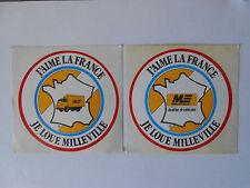 2 Autocollants Stickers MILLEVILLE Location Véhicules - Vintage Années 1980
