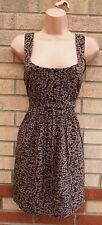 PURPLE  VTG BROWN PINK FLORAL DAISY PRINT BELTED LONG TOP TUNIC CAMI DRESS XL