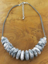NECKLACE –  GREY & WHITE RESIN DONUT BEAD - NEC 42
