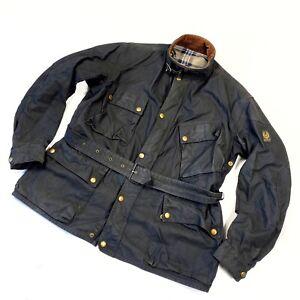 Vintage Belstaff Trialmaster Waxed Black Motorcycle Jacket Belted Wax Coat 44