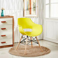 Eiffel Armchair, Plastic Dining Chair with Arms, Lounge, Wooden Legs Scandi
