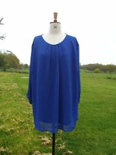 Pretty COTTON TRADERS Cobalt Blue Overlay Tunic Top Plus Size 26 Worn Once