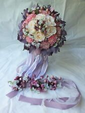 Wedding Bouquets 4pc package Bridal Bouquet SILK flowers Purple Orchid Hand Made