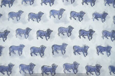 Hand Block Bull Print 10 Yard Running 100% Cotton Voile Blue Fabric Sewing Craft