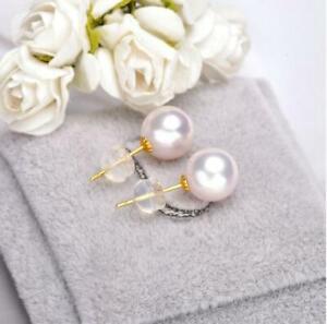 14k Gold Stud Earring 7-8 mm White Japanese Akoya Pearl Earrings Bridal Fine Jew