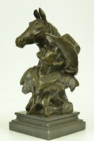 Vintage Bronze Old West Cowboy On Horse Statue Sculpture Figurine Figure GIFT