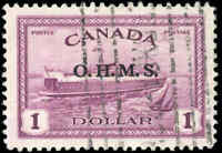 1949-1950 VF Used Canada $1.00 Overprinted Scott #O10 Peace Issue Stamp