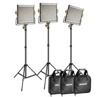 Neewer 3 set  Bi-Color 480 Dimmable Barndoor LED Video Light with Light Stand