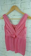 New Designer Full Circle Freese Rose Sleeveless Vest Top in Icing Pink XS 8 uk