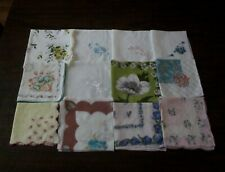 Vintage Lot of 12 Handkerchiefs Hankie Floral Pattern Embroiderd
