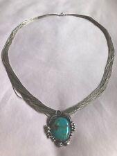 ❤️VINTAGE❤️NAVAJO Squash Blossom Turquoise Pendant Liquid Sterling Silv Necklace