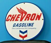 VINTAGE CHEVRON GASOLINE CALIFORNIA OIL METAL GAS SERVICE STATION SIGN