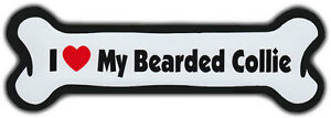 Dog Bone Magnet: I LOVE MY BEARDED COLLIE Dogs Doggy Puppy Car Automobile
