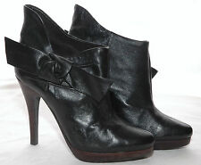 ALDO Black LEATHER Ankle BOOTS w/ BOW Stiletto Heels Platform SEXY 36 / 6 EUC