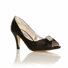Ladies Bridal Shoes Satin Bridesmaid Mid Heel Occasion Prom Party Wedding Black Satin UK 4 EU 37