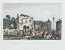 OLD ANTIQUE PRINT MAIDSTONE COLLEGE REMAINS c1829 ENGRAVING by SHEPHERD / ROGERS