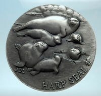 LONGINES Sterling Silver Medal Endangered Species HARP SEAL RHINO GOAT i78236