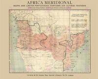 Map Antique 1886 Unknown Portuguese South Africa Replica Canvas Art Print
