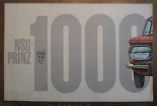 NSU PRINZ 1000 orig 1963 1964 UK Mkt Sales Brochure Prospekt